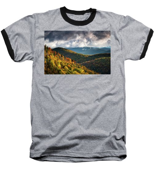 North Carolina Mountains Asheville Nc Autumn Sunrise Baseball T-Shirt
