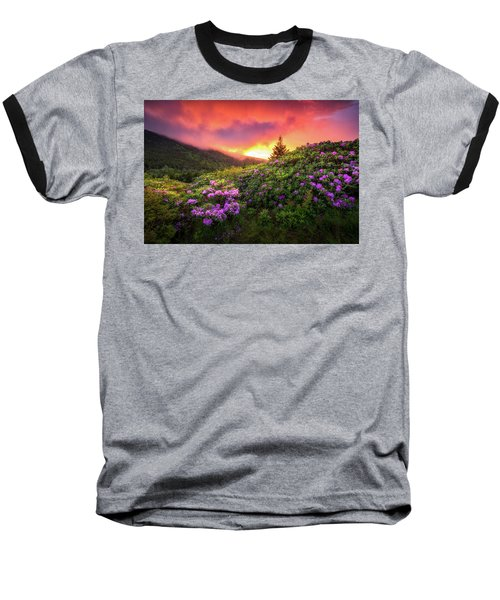 North Carolina Mountains Outdoors Landscape Appalachian Trail Spring Flowers Sunset Baseball T-Shirt