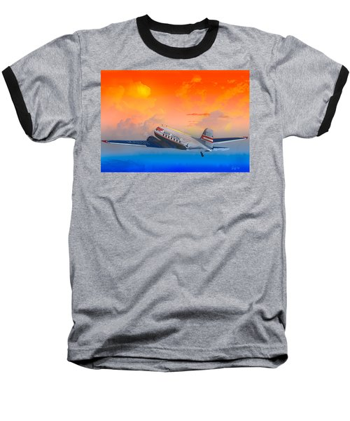 North Central Dc-3 At Sunrise Baseball T-Shirt by J Griff Griffin