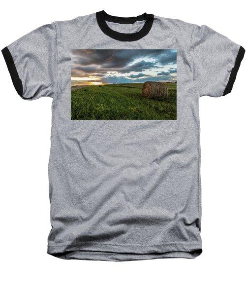 North Dakota Sunset With Hay Baseball T-Shirt