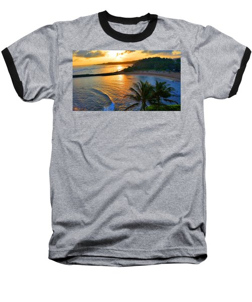 North Shore Of Oahu  Baseball T-Shirt by Michael Rucker