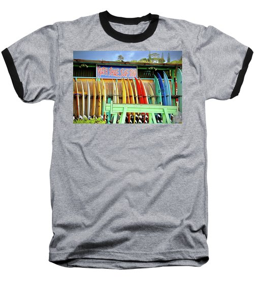 Baseball T-Shirt featuring the photograph North Shore Surf Shop 1 by Jim Albritton