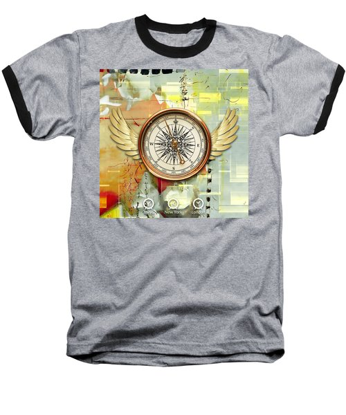 Baseball T-Shirt featuring the mixed media North, South, East And West by Marvin Blaine