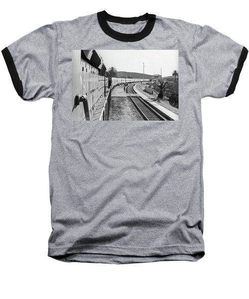 Baseball T-Shirt featuring the photograph Northbound Amtrak Coast Starlight, Early Days, San Luis Obispo, California by Frank DiMarco