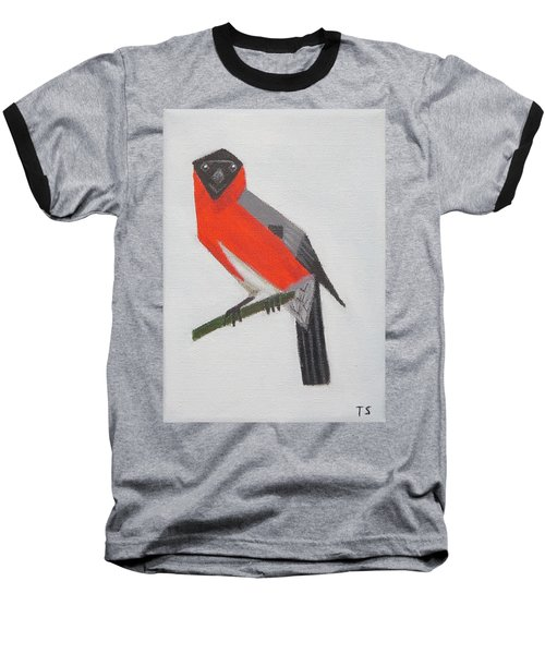 Northern Bullfinch Baseball T-Shirt by Tamara Savchenko