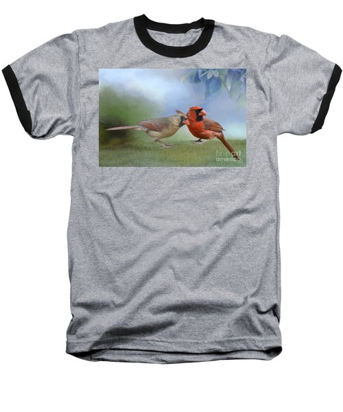 Northern Cardinals On A Spring Day Baseball T-Shirt by Bonnie Barry