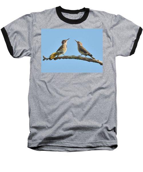 Northern Flickers Communicate Baseball T-Shirt by Alan Lenk