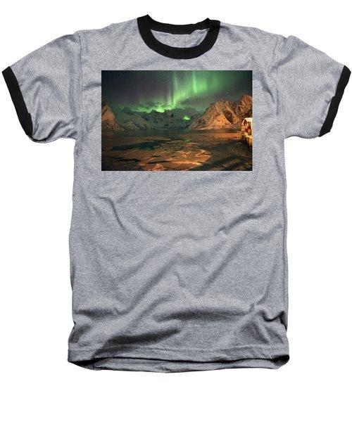 Northern Light In Lofoten, Nordland 1 Baseball T-Shirt by Dubi Roman