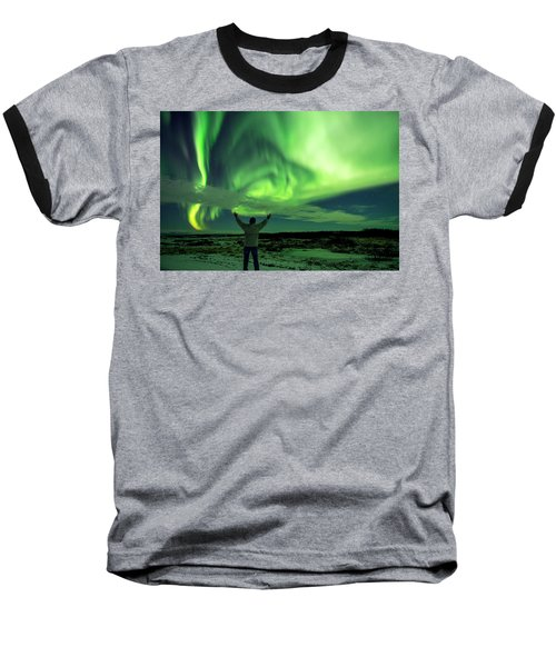 Northern Light In Western Iceland Baseball T-Shirt by Dubi Roman
