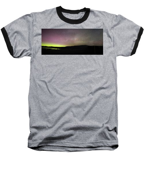 Northern Lights And Milky Way In Yellowstone Np Baseball T-Shirt