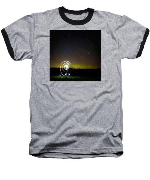 Northern Lights And Night Writing Baseball T-Shirt