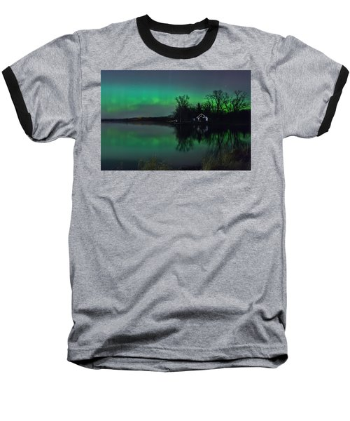 Northern Lights At Gull Lake Baseball T-Shirt