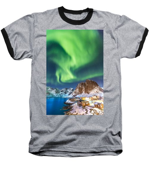 Northern Lights In Hamnoy Baseball T-Shirt by Alex Conu