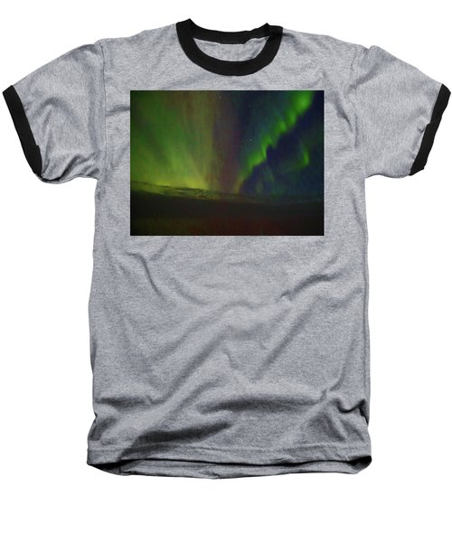 Northern Lights Or Auora Borealis Baseball T-Shirt by Allan Levin