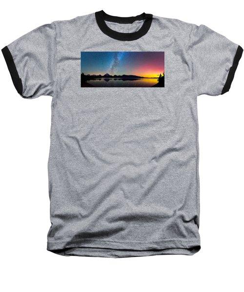 Northern Lights Over Jackson Lake Baseball T-Shirt