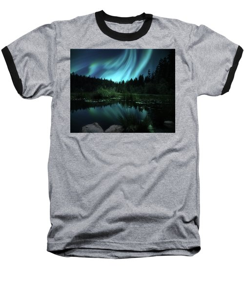 Northern Lights Over Lily Pond Baseball T-Shirt