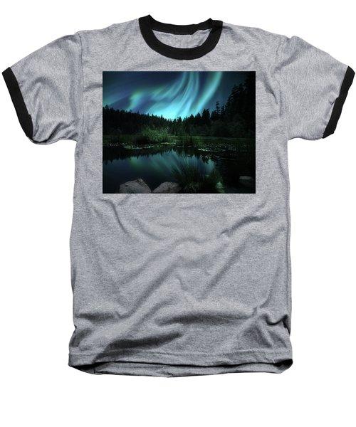 Northern Lights Over Lily Pond Baseball T-Shirt