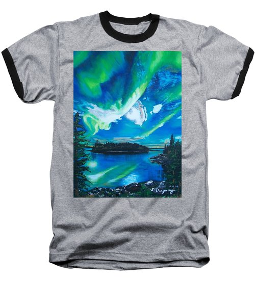 Baseball T-Shirt featuring the painting Northern Lights  by Sharon Duguay