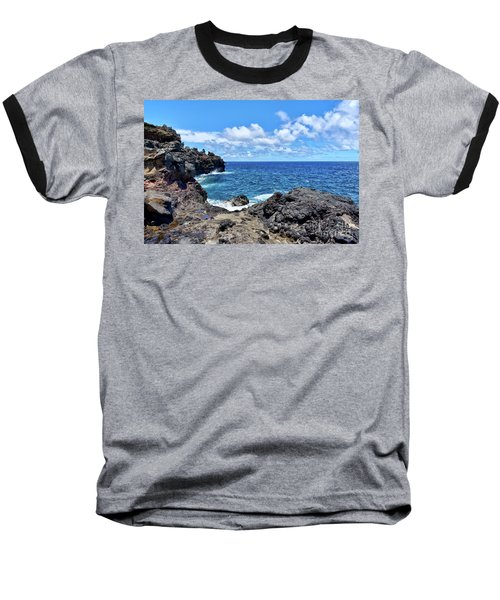 Northern Maui Rocky Coastline Baseball T-Shirt