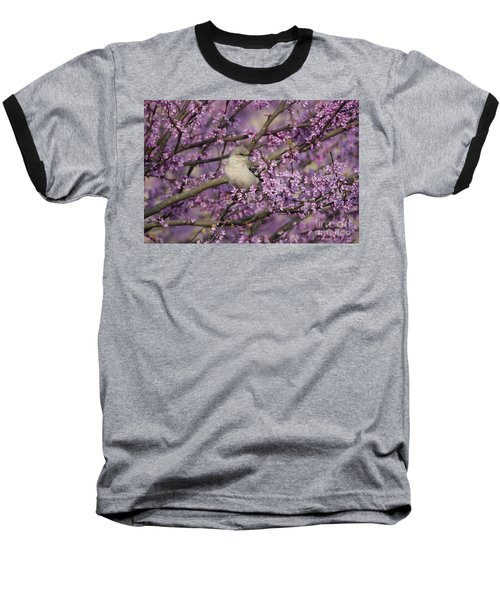 Northern Mockingbird In Blooming Redbud Tree Baseball T-Shirt by Nature Scapes Fine Art