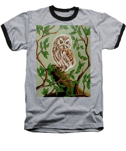Northern Saw-whet Owl Baseball T-Shirt