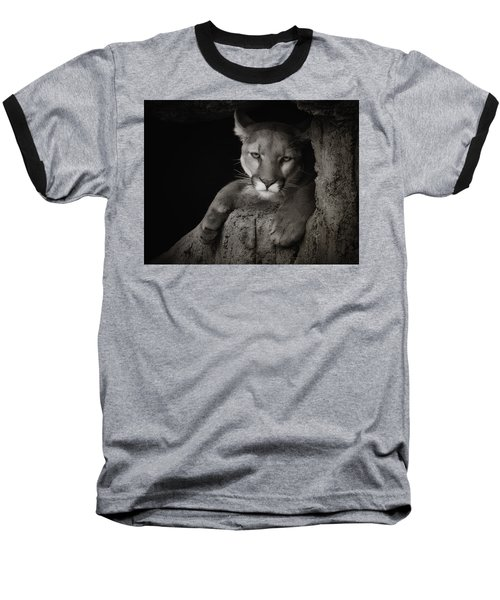 Not A Happy Cat Baseball T-Shirt by Elaine Malott