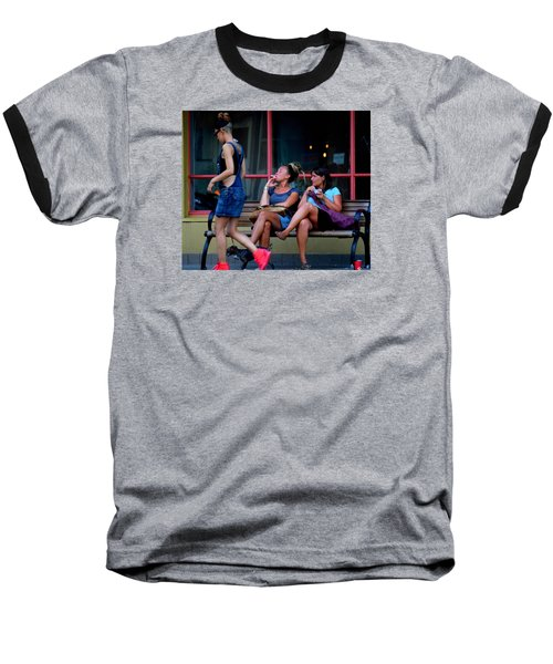 Not Looking  Baseball T-Shirt by David Gilbert