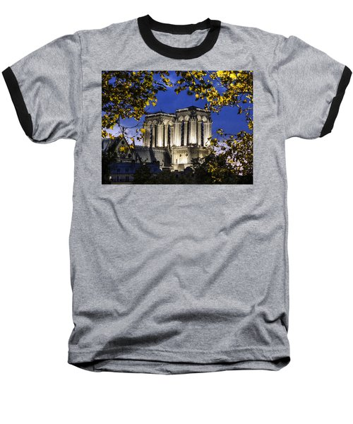 Baseball T-Shirt featuring the photograph Notre Dame At Night Paris by Sally Ross