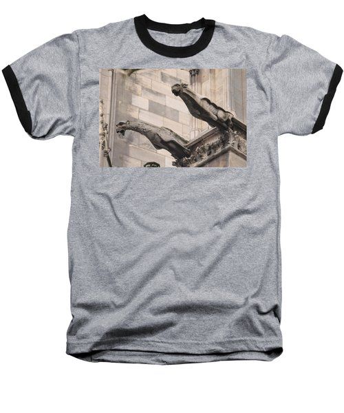 Notre Dame Cathedral Gargoyles Baseball T-Shirt by Christopher Kirby
