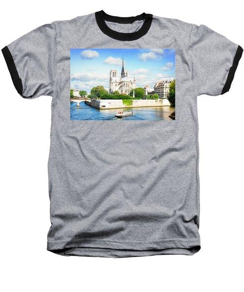 Notre Dame Cathedral, Paris France Baseball T-Shirt