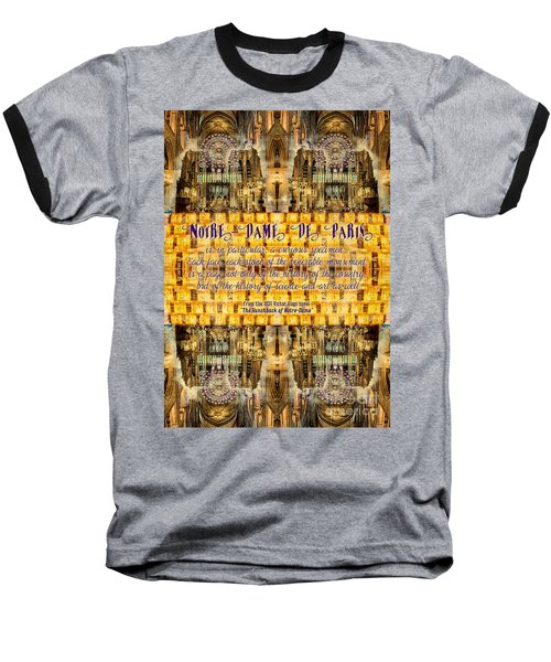Notre-dame Cathedral Rose Stained Glass Candles Novel Quote Baseball T-Shirt