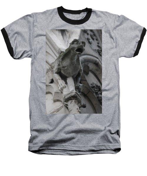 Notre Dame Gargoyle Grotesque Baseball T-Shirt by Christopher Kirby