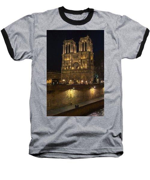 Notre Dame Night Painterly Baseball T-Shirt