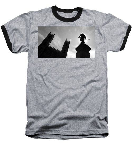 Baseball T-Shirt featuring the photograph Notre Dame Silhouette by Valentino Visentini