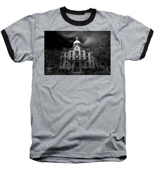 Notre Dame University Black White 3a Baseball T-Shirt by David Haskett