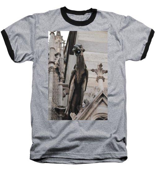 Rain Spouting Gargoyle. Baseball T-Shirt by Christopher Kirby