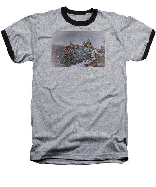 Baseball T-Shirt featuring the photograph November Snow - Garden Of The Gods by Ellen Heaverlo