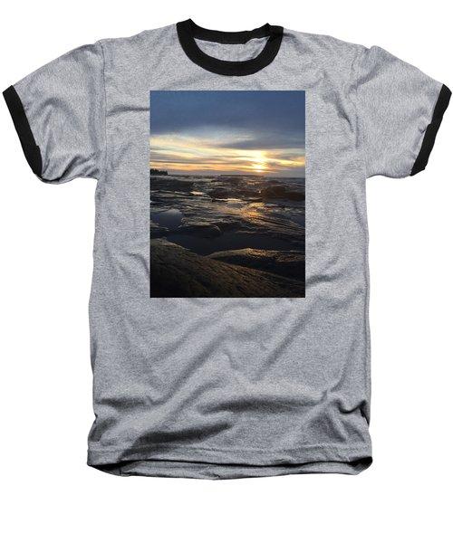 November Sunset On Lake Superior Baseball T-Shirt by Paula Brown