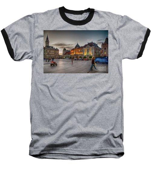 Novi Sad Liberty Square At Twilight Baseball T-Shirt by Jivko Nakev