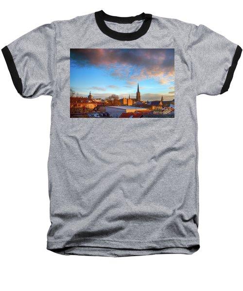 Novi Sad Roofs Lit By The Setting Sun Baseball T-Shirt by Jivko Nakev