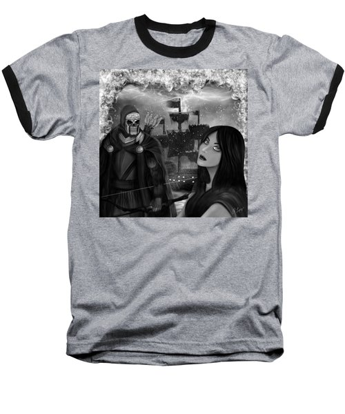 Baseball T-Shirt featuring the painting Now Or Never - Black And White Fantasy Art by Raphael Lopez