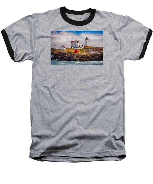Nubble In Winter Baseball T-Shirt by Tricia Marchlik