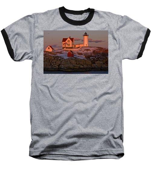 Nubble Light At Sunset Baseball T-Shirt