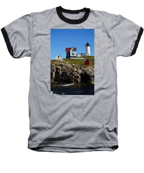 Nubble Lighthouse 2 Baseball T-Shirt by Richard Ortolano