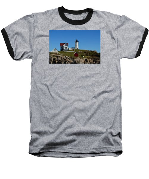 Nubble Lighthouse In Ogunquit  Baseball T-Shirt by Richard Ortolano
