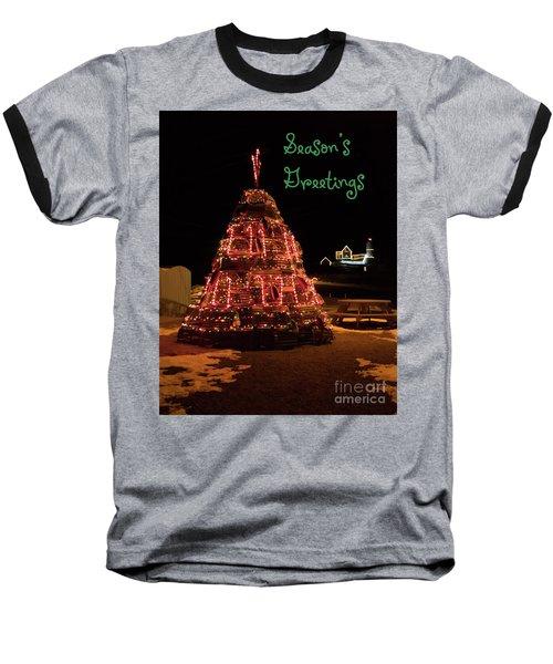 Nubble Light - Season's Greetings Baseball T-Shirt