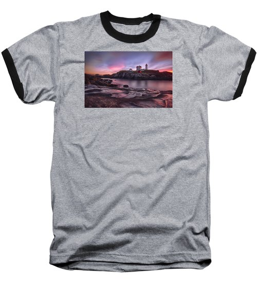 Nubble Lighthouse At Sunrise York Me Baseball T-Shirt by Betty Denise