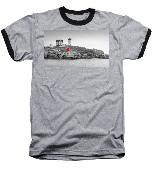 Nubble Lighthouse In Color And Black And White Baseball T-Shirt