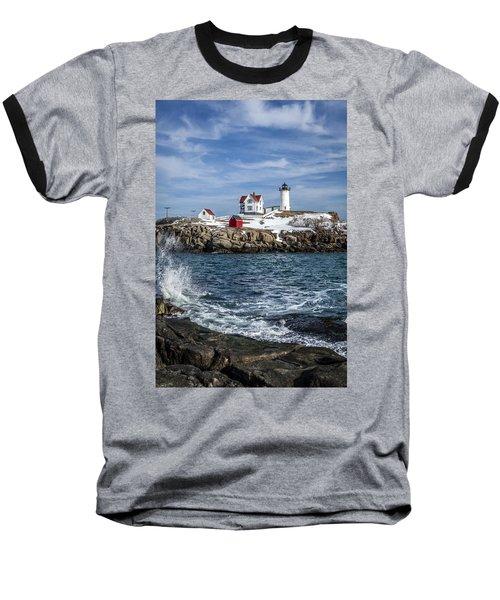 Nubble Lighthouse Winter Baseball T-Shirt
