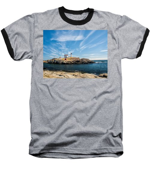 Baseball T-Shirt featuring the photograph Nubble Lighthouse With Dramatic Clouds by Nancy De Flon